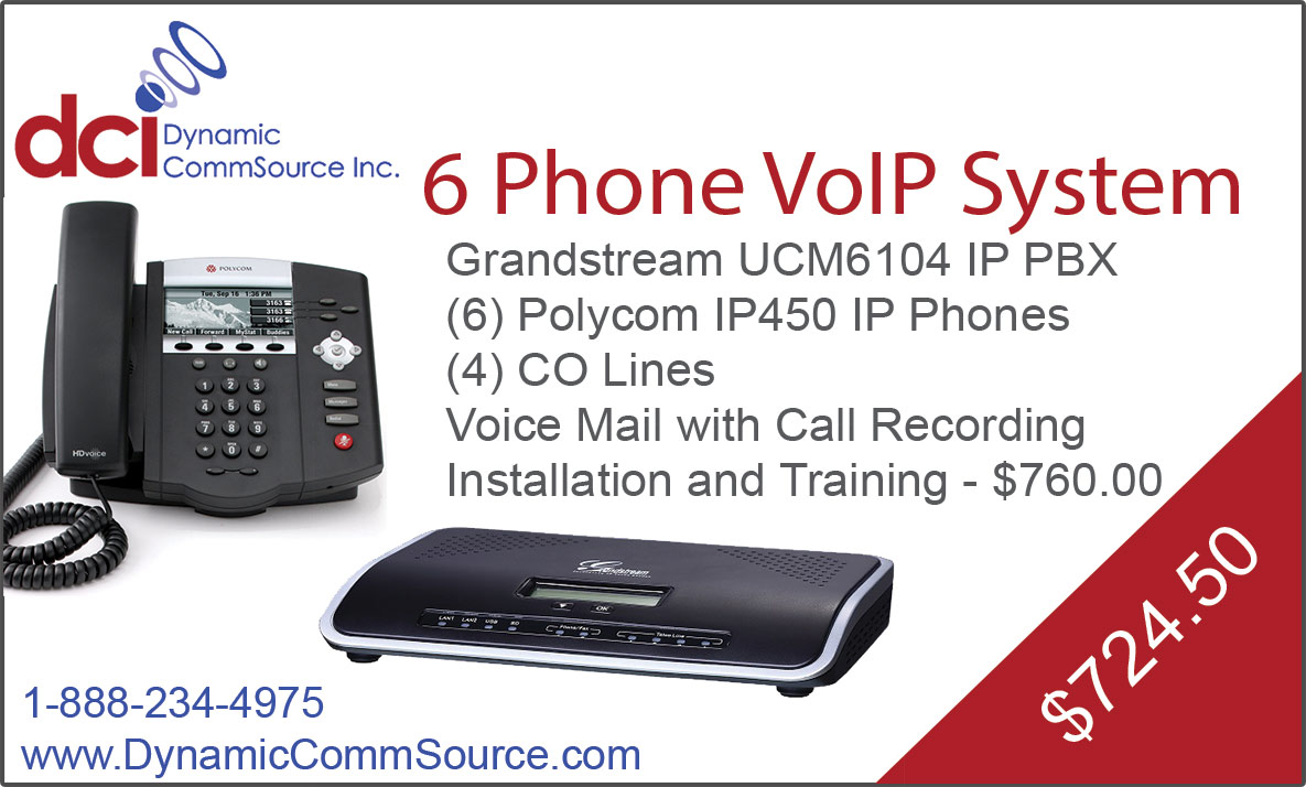 6 Phone VoIP System - Grandstream UCM6104 IP PBX; (6) Polycom IP450 IP Phones; (4) CO Lines; Voice Mail with Call Recording; Installation and Training - $760.00